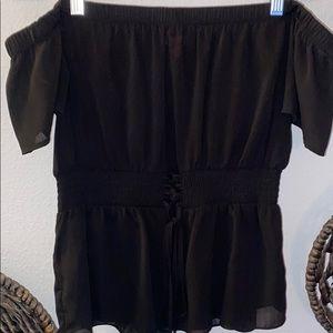 Guess black off shoulder blouse XL